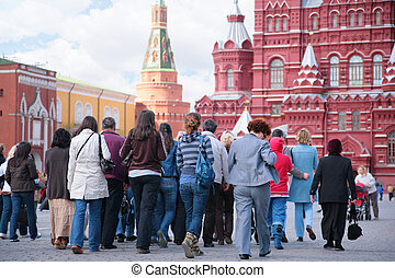 quadrato, turisti, rosso