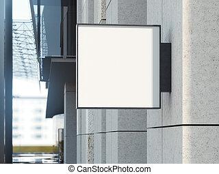 quadrato, ufficio, cartello, interpretazione, 3d, costruzione.