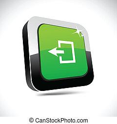 quadrato, uscita, button., 3d