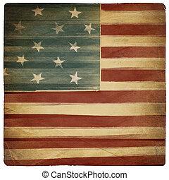 quadrato, vecchio, modellato, vendemmia, isolato, fondo., americano, white., patriottico