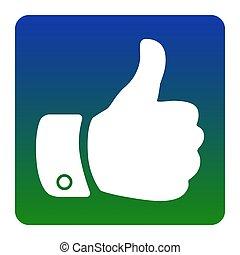 quadrato, verde-blu, illustration., fondo., isolated., angoli, segno, pendenza, vector., arrotondato, bianco, mano, icona