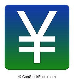 quadrato, verde-blu, yen, isolated., angoli, segno., pendenza, fondo., vector., arrotondato, bianco, icona