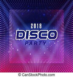 quadrato, viola, immagine, discoteca, vettore, 2018, fondo, festa, puntino