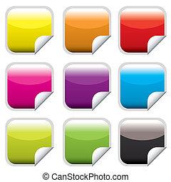 quadrato, web, bottone, luminoso
