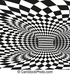 quadrato, wormhole, tunnel, astratto, bianco, illustrazione, vettore, nero, geometrico, illusion., ottico, distort.