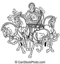 charioteer in a roman quadriga chariot pulled by four horses harnessed abreast . Black and white illustration