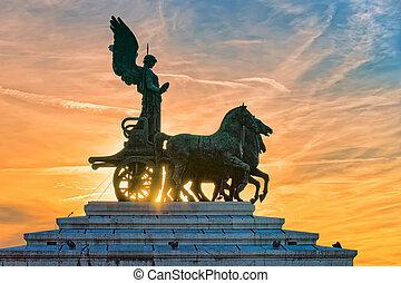 Quadriga of Victory at Victor Emmanuel in Rome evening