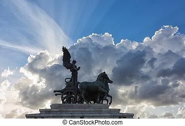 quadriga on top of Monument Vittorio Emanuele II in Rome, Italy
