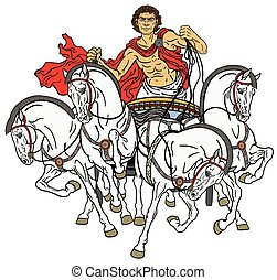 charioteer in a roman quadriga chariot pulled by four horses harnessed abreast