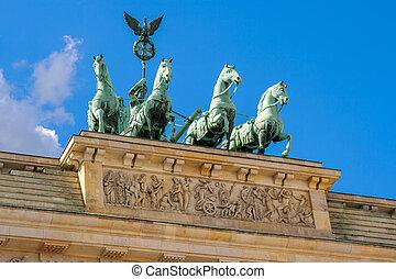 Quadriga on top of Brandenburg Gate in Berlin. Germany