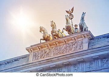 Quadriga statue on top of the Brandenburger Tor (Brandenburg gate) in Berlin, Germany