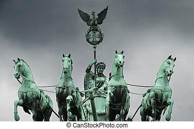 The Quadriga on the Brandenburg gate, Berlin, Germany.