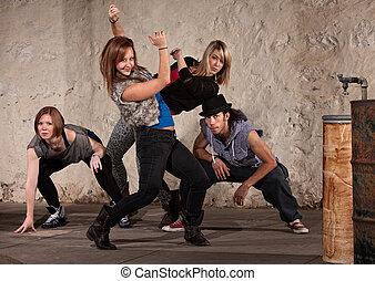 quadril, dançarino, grupo, pulo, bonito