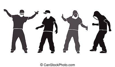 quadril, dançarino, silueta, pulo, vetorial