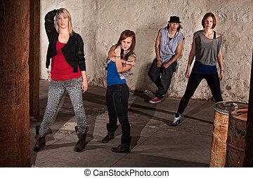 quadril, dançarinos, jovem, pulo