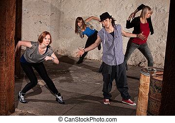 quadril, dançarinos, pulo, fresco