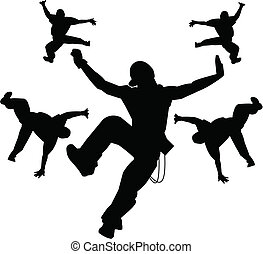 quadril, dançarinos, pulo