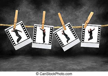 quadril, filmstrip, americano, dançarino, pulo, africano