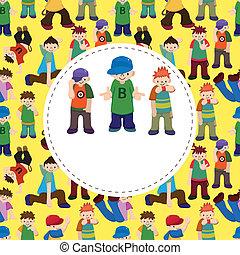 quadril, menino, dançar, pulo, caricatura, cartão