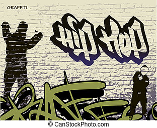 quadril, parede, graffiti, pulo, pessoa
