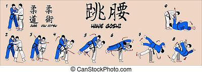 quadril, primavera, judo, lançamento