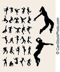 quadril, silhuetas, dançarinos, pulo
