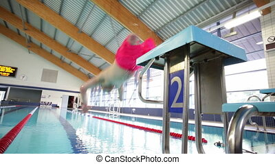 Quadriplegic Swimmer doing a Length - Quadriplegic swimmer...