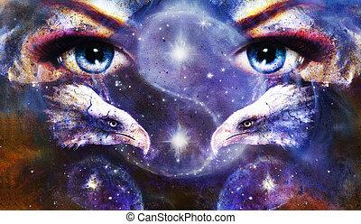 quadro, águias, com, mulher, olhos, ligado, abstratos, fundo, e, yin yang símbolo, em, espaço, com, stars., asas, para, fly.