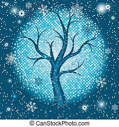 quadro, árvore, snowflakes, natal