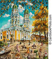 quadro, óleo, igreja velha