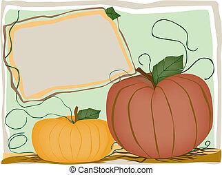 quadro, abóboras, outono