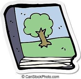 quadro, adesivo, livro, caricatura