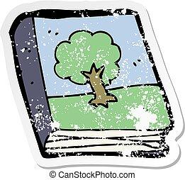 quadro, afligido, adesivo, livro, retro, caricatura