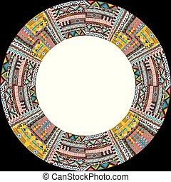 quadro, africano, circular, arabescos, étnico