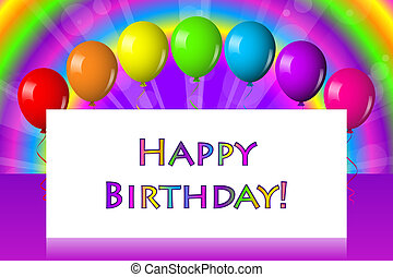 Quadro, aniversário, balões, Feliz