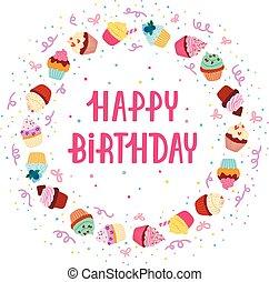quadro, aniversário, cupcake