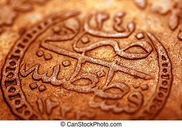 quadro, antiga, otomano, moeda,  macro