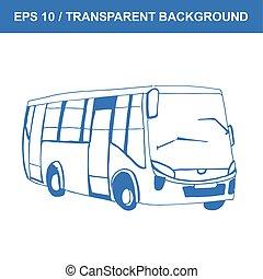 quadro, antigas, sketch., mão, vetorial, bus., desenhado, transportation.