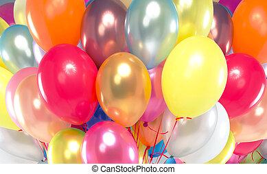 quadro, apresentando, grupo, balões coloridos