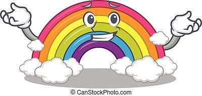 quadro, arco íris, sorrindo, desenho, caricatura, conceito