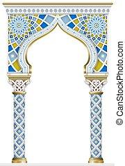 quadro, arco, mosaico, oriental