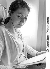 quadro, avião, mulher, monocromático