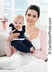 quadro bebê, feliz, mãe
