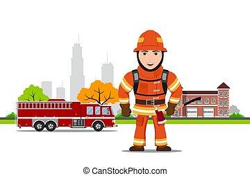 quadro, bombeiro