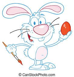 quadro, branca, ovo páscoa, coelho