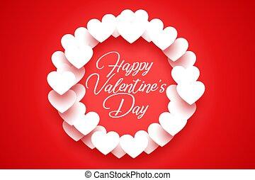 quadro, branco vermelho, valentine, fundo, corações