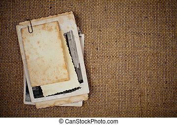quadro, burlap, sobre, textura, fotografias, modelo, antigas, seu, grupo