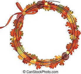 quadro, círculo, outono