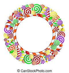quadro, candies., coloridos