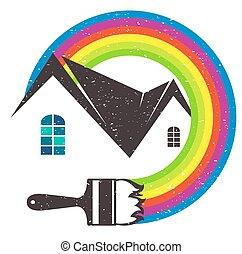 quadro, casas, vetorial, ilustração